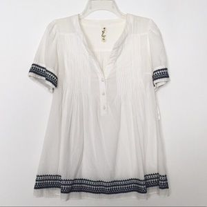 Anthropologie Floreat White Embroidered Blouse